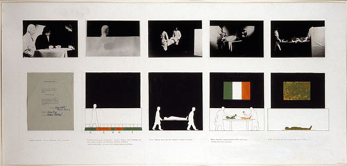 Patrick Ireland, Name Change, 1972, photographs, ink and gouache drawings on paper, typed text on paper collaged onto posterboard, 71 x152 cms (28 x 60 ins), Image courtesy: Dublin City Gallery The Hugh Lane, Photo credit: John Kellett