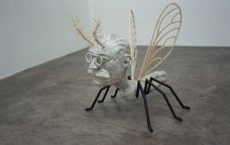 Alan Phelan, Mosquito Man Arthur, 2007, archival paper, EVA glue, balsa wood, cocktail sticks, aluminium, plaster, metal pipe, plastic, 82 x 80 x 80 cms, Courtesy of the artist