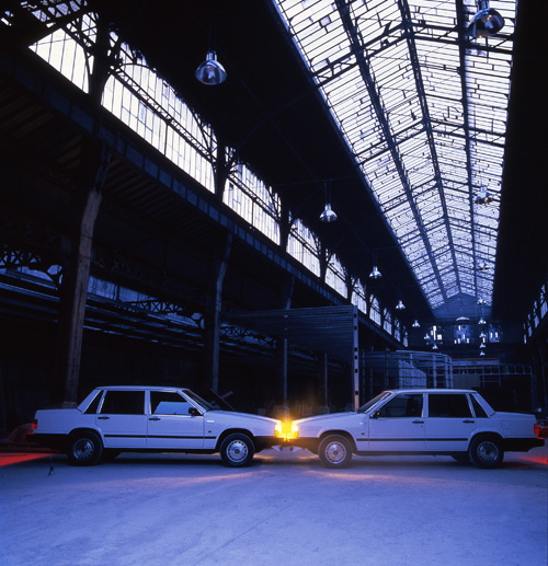 Ange Leccia, Volvo, arrangement, 1986, Installation view in Le Magasin, Grenoble, France, Almine Rech Gallery, Paris, Bruxelles © Ange Leccia ADAGP