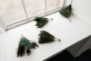 Peacock Shuttlecock, mixed media, dimensions variable