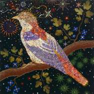 Fred Tomaselli, Big Bird, 2004, Leaves, photocollage, gouache, acrylic and resin on wood panel, 122 x 122cm, Courtesy Jay Jopling/White Cube (London)