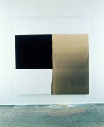 Callum Innes, Exposed Painting, Charcoal Grey/Yellow Oxide/Asphalt, 1999, oil on cavas, 217.5 x 207.5 cm, Purchase, 1999, Collection Irish Museum of Modern Art