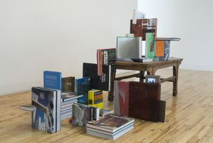 Carolos Garaicoa, Mi biblioteca personal crece conjuntamente con mis principios pol�ticos. My Personal Library Grows-up Together with My Political Principles, 2008, books, mini-DV videos, mp4 players, wood, Courtesy Galleria Continua, San Gimignano / Beijing / Le Moulin, Photo by Oak Taylor-Smith
