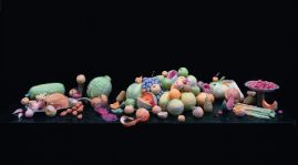 Caroline McCarthy, The Luncheon, 2002, Photograph of wet toilet paper sculpture (Sculpture: toilet paper of varying colour, water, black bin-bags, real stalks, fake flies, disposable tableware), 196 x 114 cm , Collection Irish Museum of Modern Art, Donated by A.I.B., 2002