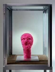 Louise Bourgeois, UNTITLED, 2001, Pink fabric and aluminum, stainless steel, glass and wood vitrine, Unframed: 177.8 x 60.9 x 60.9 cm, Collection Irish Museum of Modern Art, Donation, 2005