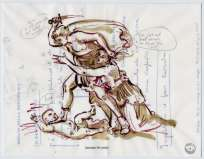 David Godbold, Increase the Peace, 2004, ink and computer print out on tracing paper over found paper, 17 x 22 cm, Collection Irish Museum of Modern Art