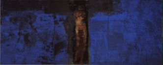 Hughie O�Donoghue, Blue Crucifixion, 1993-2003, Oil on Linen, 330.2 x 823, Courtesy of the artist