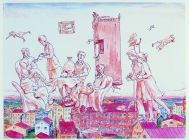 Ilya Kabakov, The Flying Komarov, 1972 � 75, editioned print, 50.5 x 37.5 cm, Collection IMMA