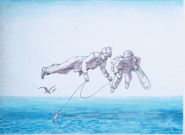 Ilya Kabakov, The Flying Komarov, 1972 -1975, Editioned prints, 50.5 x 37.5 cm, Collection Irish Museum of Modern Art, Purchase, 1999