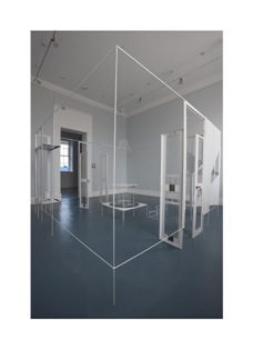 Laurence Kavanagh.The Lonely House (Night time), 2008, 18 x 18 x 6ft, Metal office stationary cupboards, cut and reformed. Pins, String, Red Paint, Photo Credit - Stephen White, Supported by the Henry Moore Foundation