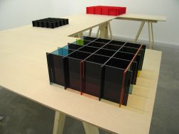 Liam Gillick, Literally Based on H.Z., 2006, ten table units and seven prototypes, dimensions variable. Collection Irish Museum of Modern Art, Purchased 2007