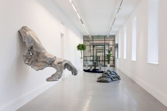 Lynda Benglis, foreground Wing, 1970, centre Eat Meat, 1973 and background Primary Structures (Paula�s Props), 1975. Installation view Irish Museum of Modern Art. Courtesy Cheim & Read, New York, � Lynda Benglis. Photographer: Denis Mortell