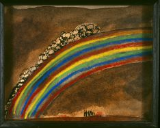 Patrick Hall, Rainbow, 2005, ink, watercolour and pastel, 14 x 17cm, Private Collection