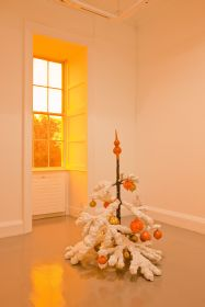 Philippe Parreno, Fraught Times: For Eleven Months of the Year it�s an Artwork and in December it�s Christmas; November 2009, christmas tree in cast aluminium, paint, 120 cm height. Installation view Irish Museum of Modern Art. Photographer: Denis Mortell