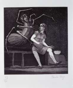 Paula Rego, Little Miss Muffet, 1989, Etching and aquatint, 23/50, 52 x 38 cm, Collection Irish Museum of Modern Art