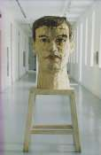 Stephan Balkenhol, Large Head, 1991, Wawa wood, 120 cm high. Base 100 cm high, Collection Irish Museum of Modern Art
