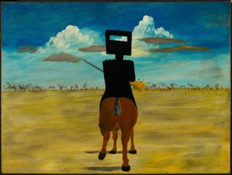 Sidney Nolan, Ned Kelly, 1946, 90.8 (H) x 121.5 (W) cm, enamel on composition board, Gift of Sunday Reed 1977, Collection National Gallery of Australia