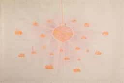 Stephen Brandes, Chandelier, 2004, Permanent marker, biro and oil on vinyl, 276.9 x 398.8 cm, Collection Irish Museum of Modern Art, Purchase, 2004