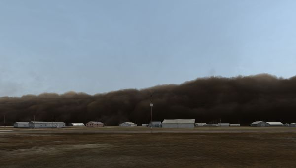 John Gerrard, Dust Storm (Manter, Kansas), 2008, Realtime 3D projection, Dimensions variable, Collection Irish Museum of Modern Art, Purchase, 2010, Image courtesy of the artist and Thomas Dane Gallery, London