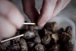 Mick O�Shea of The Domestic Godless prepares chili chocolate chicken hearts, Photo: Matthew Thompson Photography, courtesy the artists, � IMMA 2010
